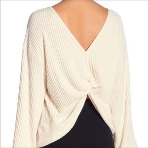Lush Back Twist Ribbed Knit Sweater Size M